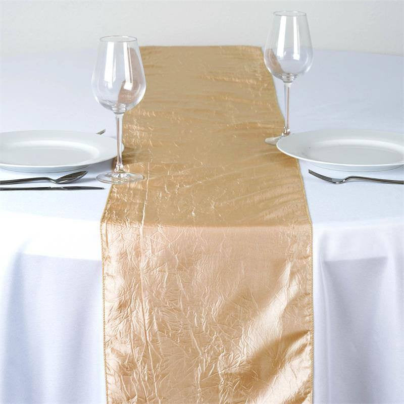Champagne Taffeta Crinkle Table Runner