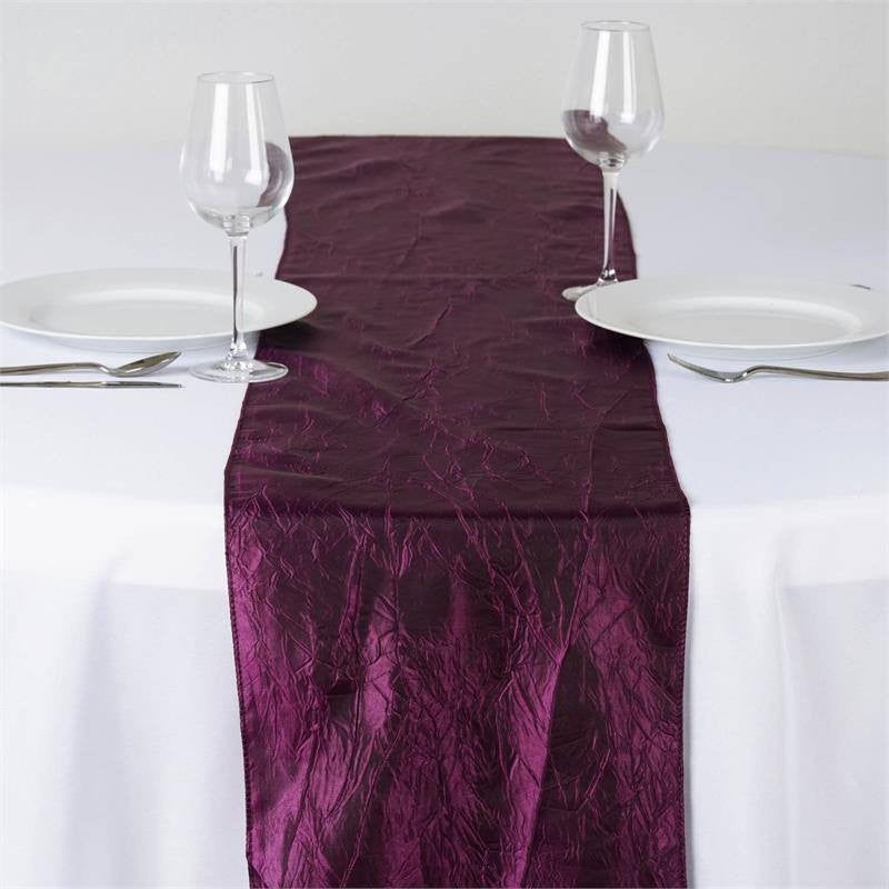 Eggplant Taffeta Crinkle Table Runner
