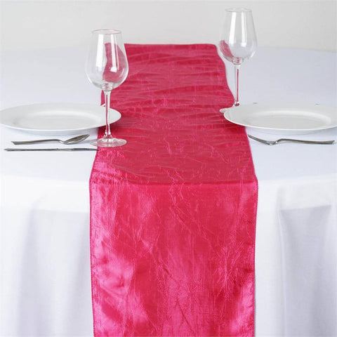 Fushia Taffeta Crinkle Table Runner