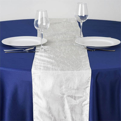 Ivory Taffeta Crinkle Table Runner