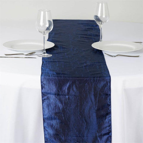Navy Blue Taffeta Crinkle Table Runner