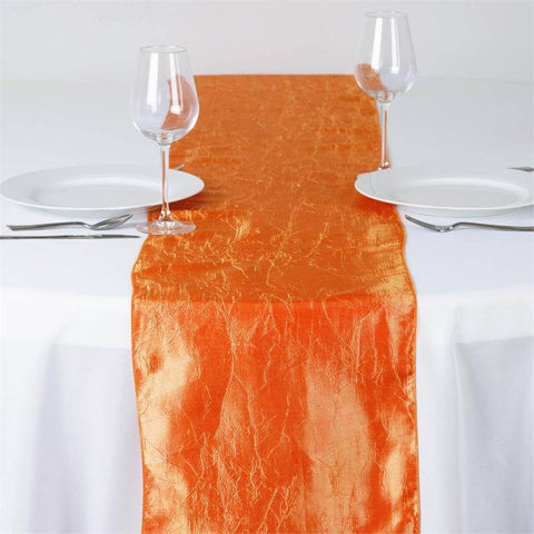 Orange Taffeta Crinkle Table Runner