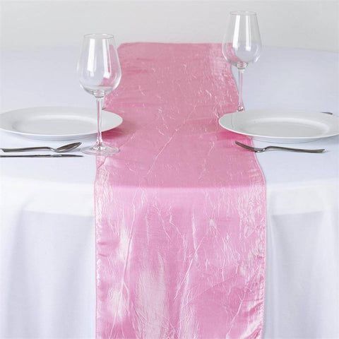Pink Taffeta Crinkle Table Runner