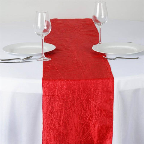 Red Taffeta Crinkle Table Runner