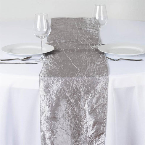 Silver Taffeta Crinkle Table Runner