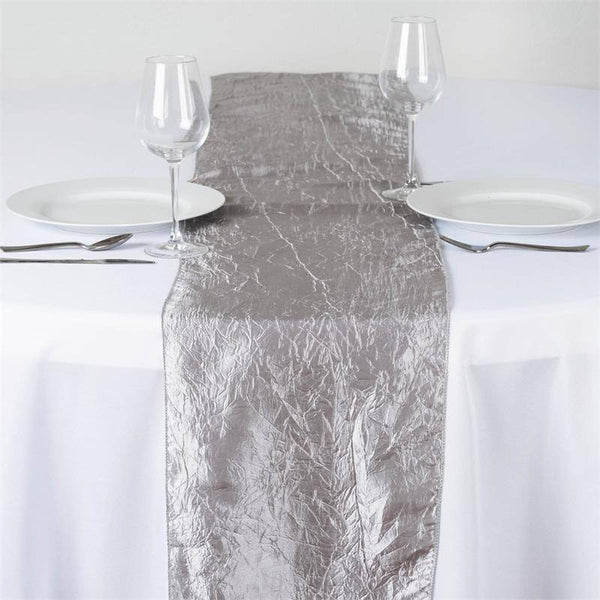 Silver Crinkle Crushed Taffeta Table Runner