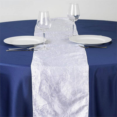 White Taffeta Crinkle Table Runner