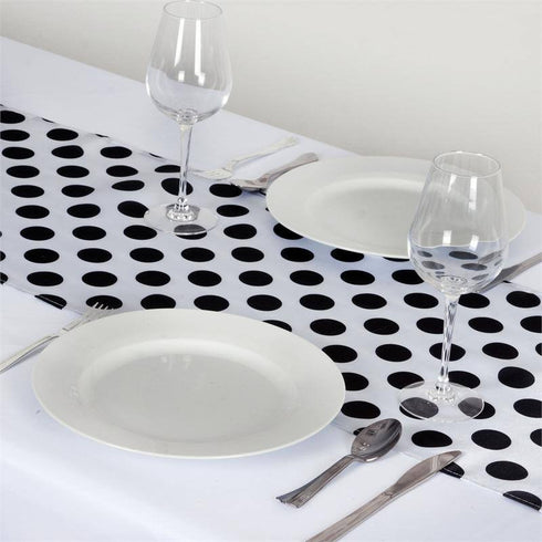Polka Dotted Satin Table Runner White / Black