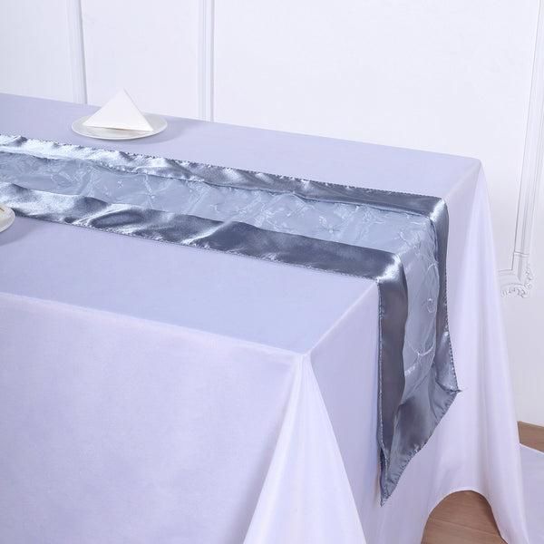 "14""x108"" Dusty Blue Satin Embroidered Sheer Organza Table Runner"