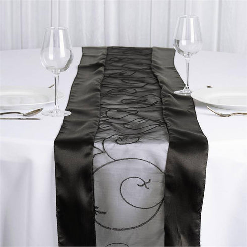 Black Embroidered Table Runner