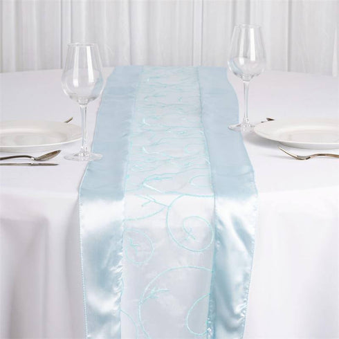 Beautiful Light Blue Embroidered Table Runner ...