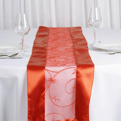 Burnt Orange Embroidered Table Runner