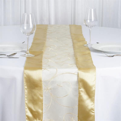 Champagne Embroidered Table Runner