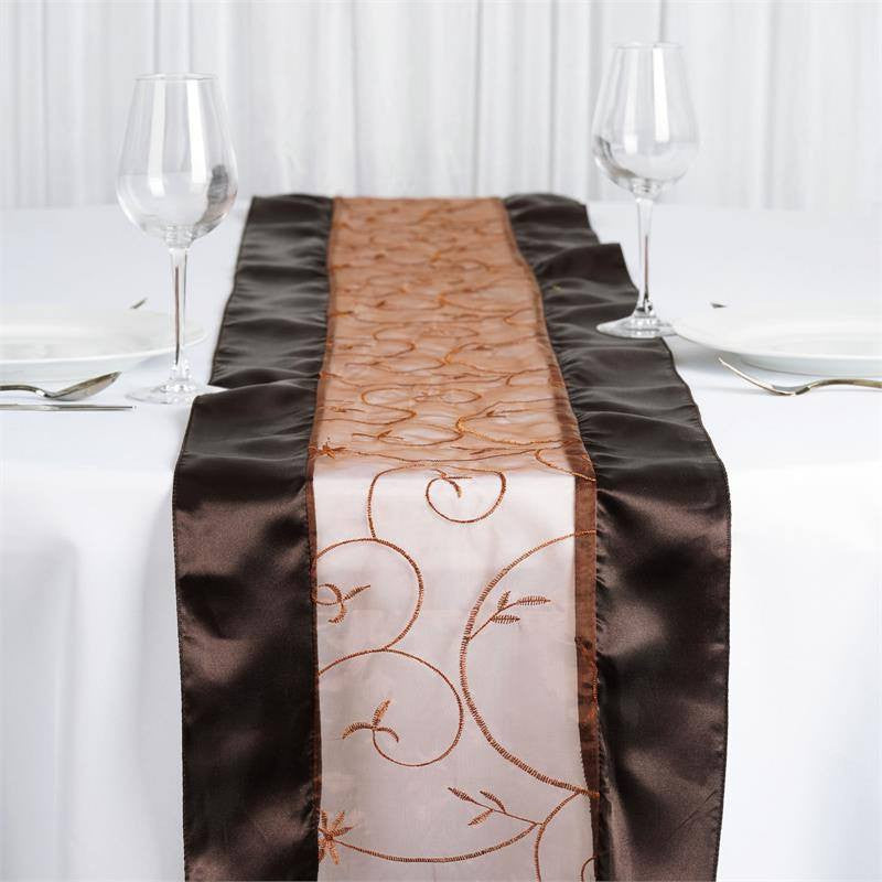 Chocolate Embroidered Table Runner