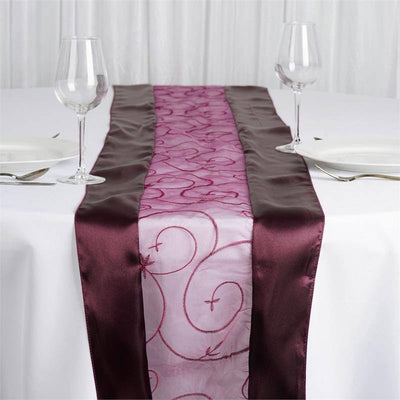Eggplant Embroidered Table Runner
