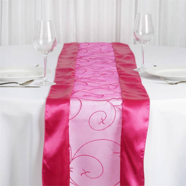 "14""x108"" Fushia Satin Embroidered Sheer Organza Table Runner"