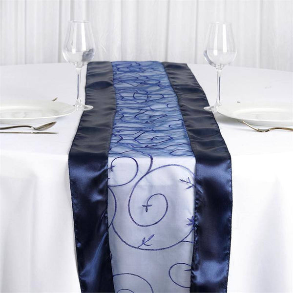 "14""x108"" Navy Blue Satin Embroidered Sheer Organza Table Runner"