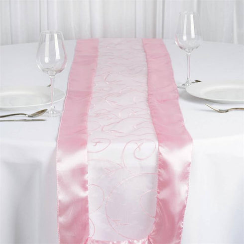 Pink Embroidered Table Runner