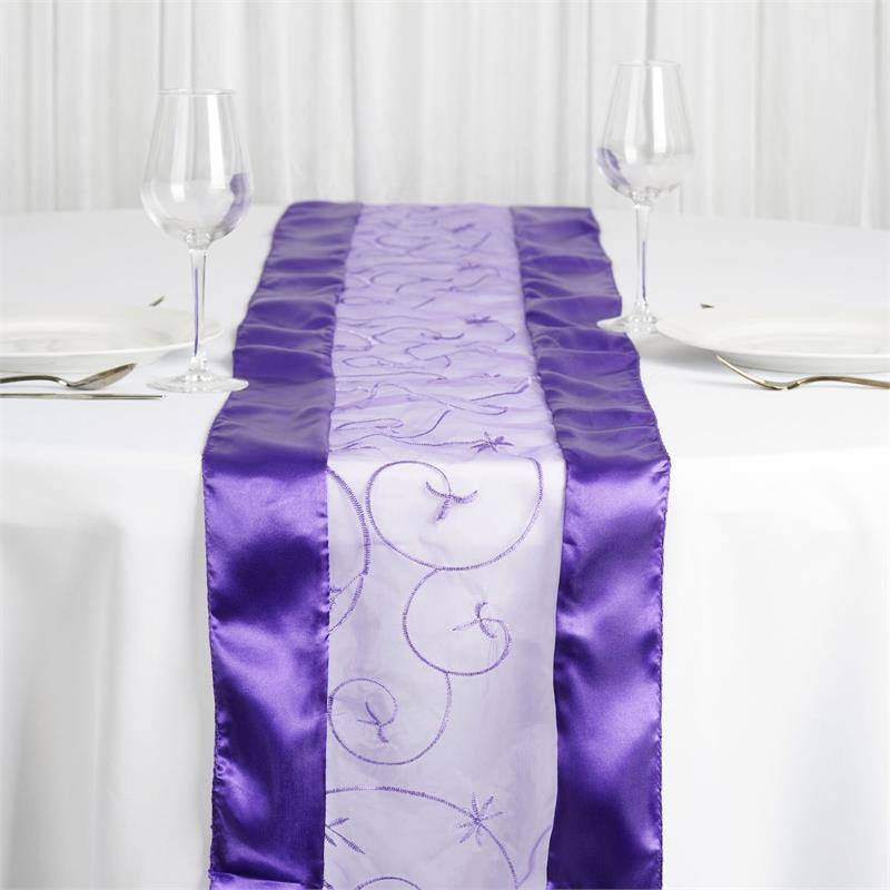 Purple Embroidered Table Runner