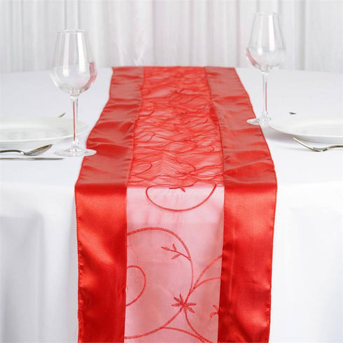 Red Embroidered Table Runner
