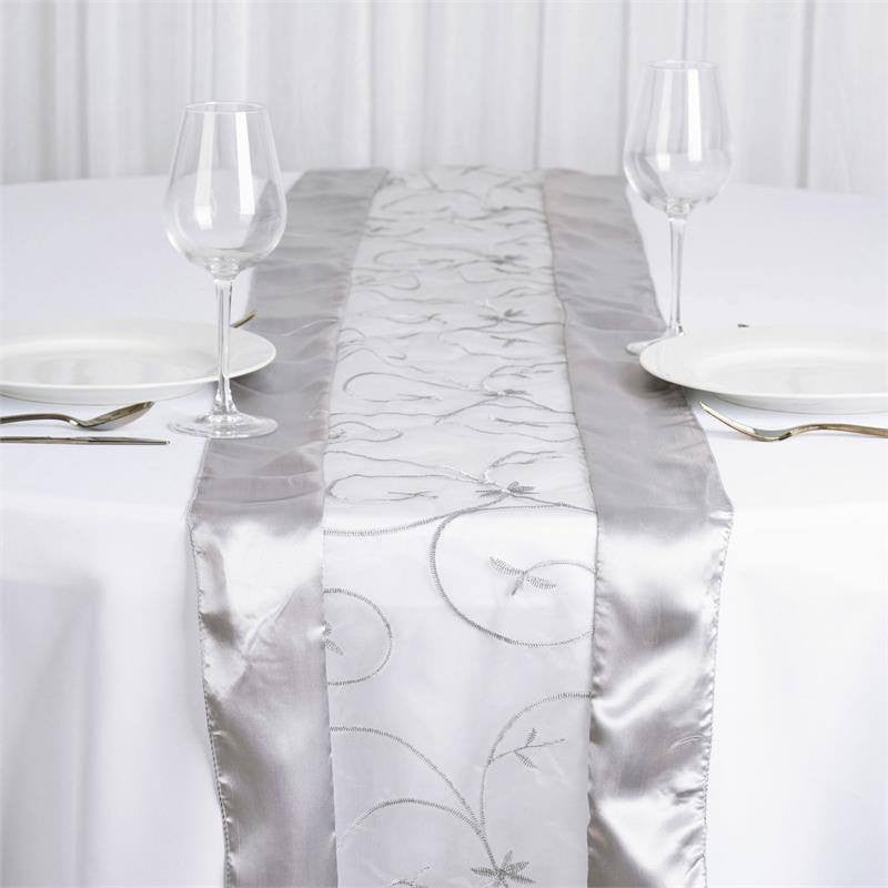 Silver Embroidered Table Runner; Silver Embroidered Table Runner ...