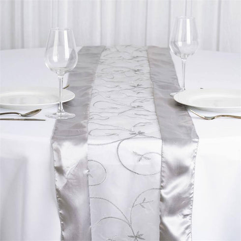 Silver Embroidered Table Runner