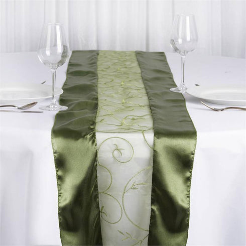 Embroidered Table Runner - Moss / Willow