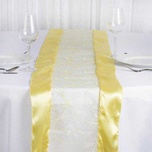 Yellow Embroidered Table Runner