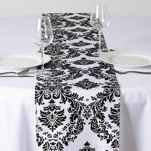 Black Flocking Table Runner