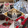 "12""x108"" Red Taffeta Damask Flocking Table Runner"