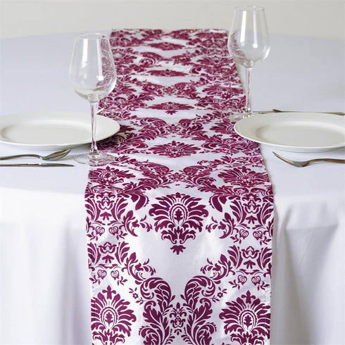 "Dark Eggplant Taffeta Flocking Table Runner -12""x108"