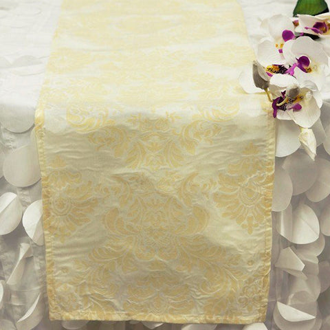 Dual-Tone Edition Flocking Table Runner - Ivory / Ivory