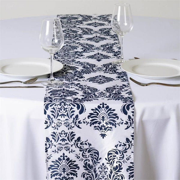 "12""x108"" Navy Blue Taffeta Damask Flocking Table Runner"