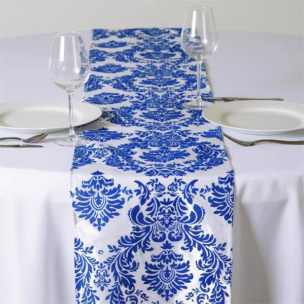 "12""x108"" Royal Blue Taffeta Damask Flocking Table Runner"