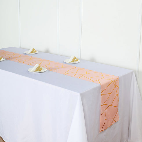 9 Ft Blush Geometric Table Runner With Gold Foil Patterns