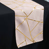 blush and gold geometric design table runner, foil runner, blush and gold table runner