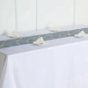 9 Ft Dusty Blue Geometric Table Runner With Gold Foil Patterns