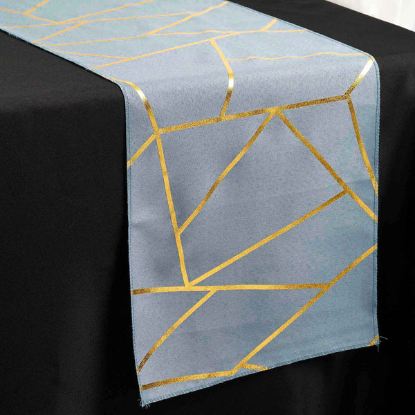 9FT Dusty Blue Geometric Table Runner With Gold Foil Patterns