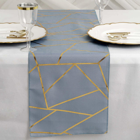 dusty blue and gold geometric design table runner, foil runner, dusty blue and gold table runner