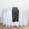 9 Ft Black Geometric Table Runner With Gold Foil Patterns