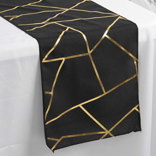9FT Black Geometric Table Runner With Gold Foil Patterns