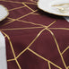 burgundy and gold geometric design table runner, foil runner, burgundy and gold table runner