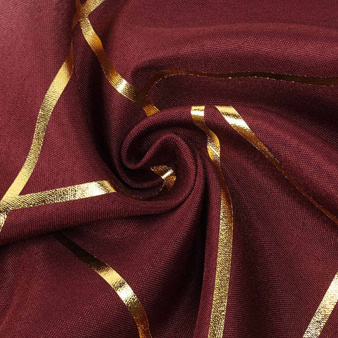 9 Ft Burgundy Geometric Table Runner With Gold Foil Patterns