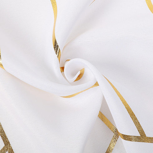 9 Ft White Geometric Table Runner With Gold Foil Patterns