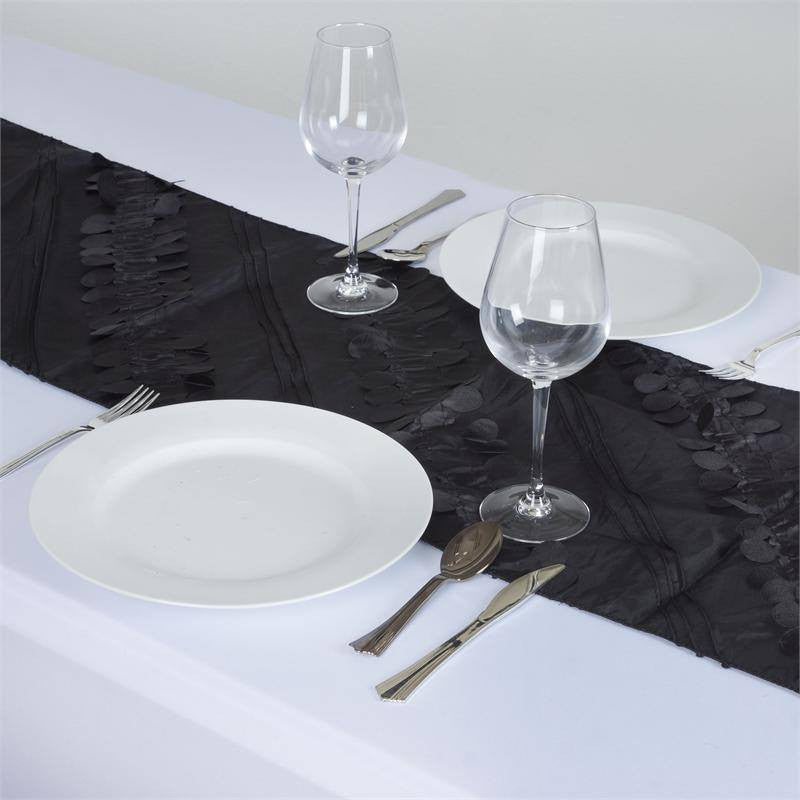 Paradise Forest Taffeta Table Runners - Black