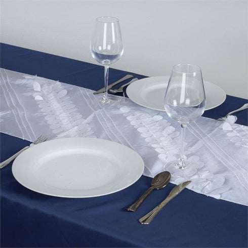 Paradise Forest Taffeta Table Runners - White