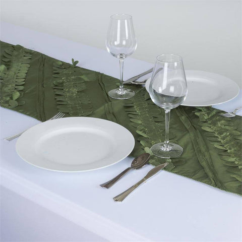 Paradise Forest Taffeta Table Runners - Moss / Willow