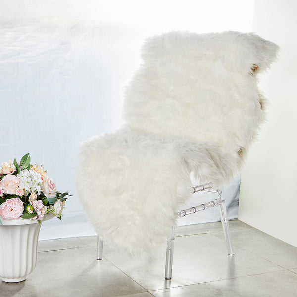 6FT x 2FT | White Faux Sheepskin Rug, Soft Fur Area Rug Runner