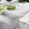 9Ft Silver Glitzing Table Runner, Disposable Glitter Paper Table Runner with Circle Pattern