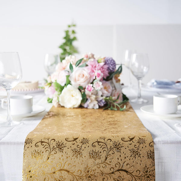 9Ft Gold Glitter Paper Table Runner Roll, Disposable Table Runner with Vintage Floral Design